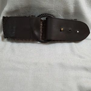 LOFT Brown Leather Braid Belt (XS) #769